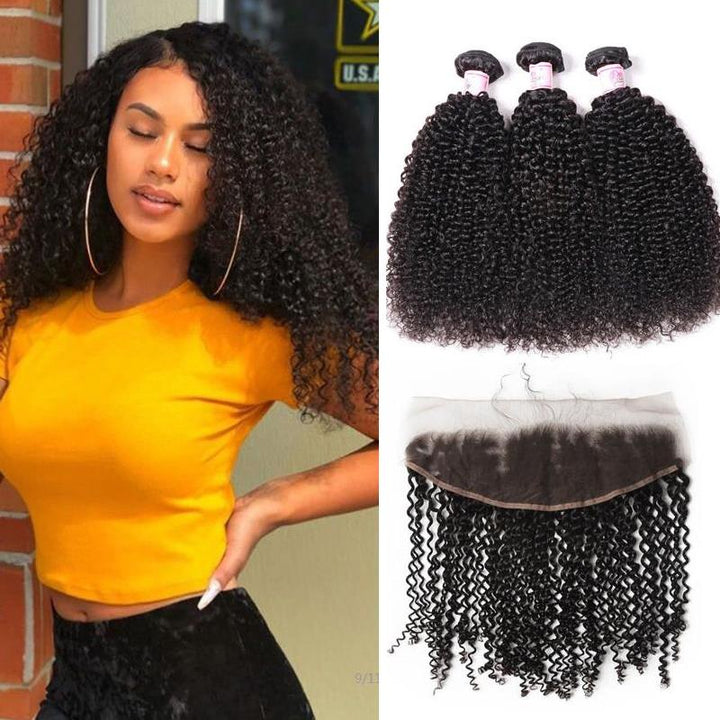 Malaysian Hair 3 Bundles with Lace Frontal Kinky Curly Hair