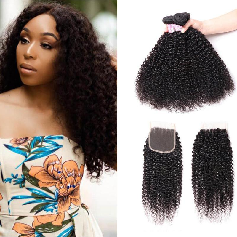 Malaysian Hair 4 Bundles with Lace Closure Kinky Curly Hair