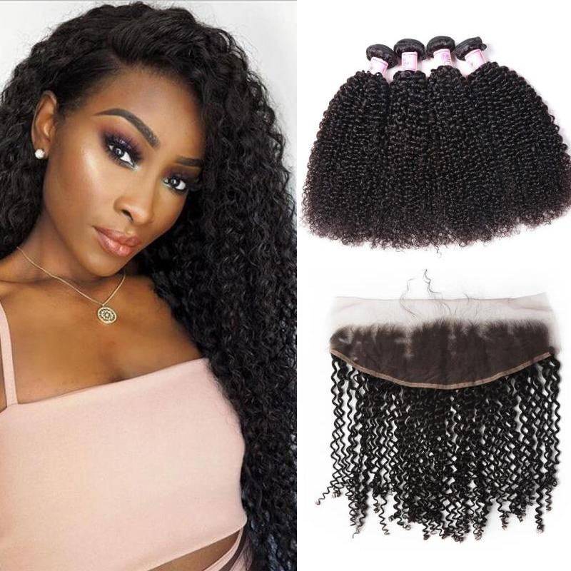 Malaysian Hair 4 Bundles with Lace Frontal Kinky Curly Hair