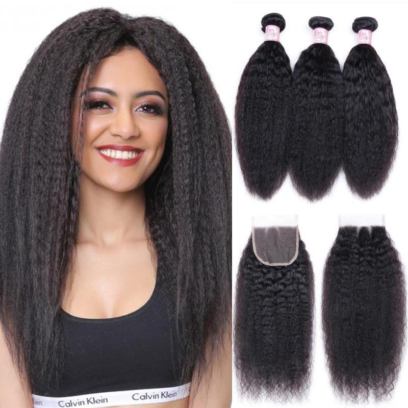 Malaysian Hair 3 Bundles with Lace Closure Kinky Straight Hair