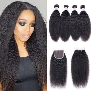 Malaysian Hair 4 Bundles with Lace Closure Kinky Straight Hair