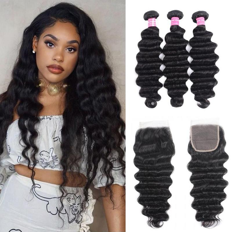 Malaysian Hair 3 Bundles with Lace Closure Loose Deep Hair