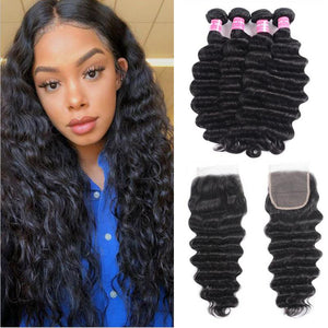 Malaysian Hair 4 Bundles with Lace Closure Loose Deep Hair