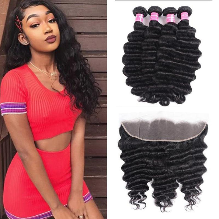Malaysian Hair 4 Bundles with Lace Frontal Loose Deep Hair