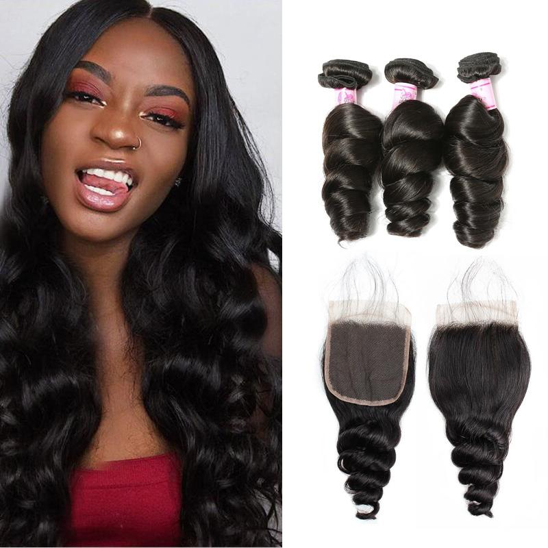 Malaysian Hair 3 Bundles with Lace Closure Loose Wave Hair
