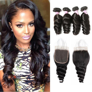 Malaysian Hair 4 Bundles with Lace Closure Loose Wave Hair
