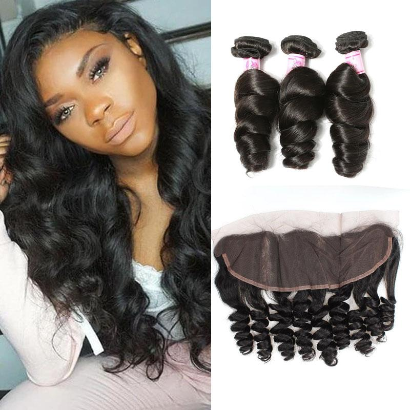Malaysian Hair 4 Bundles with Lace Frontal Loose Wave Hair
