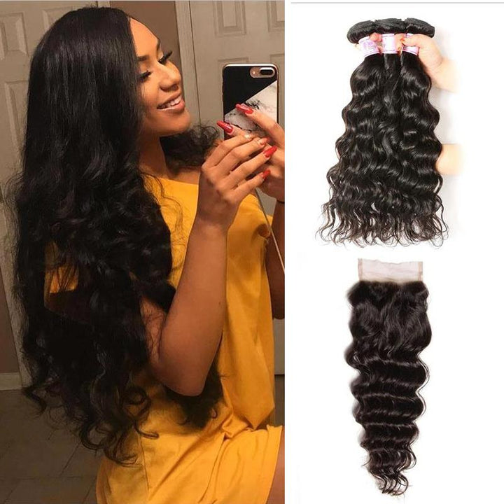Malaysian Hair 3 Bundles with Lace Closure Natural Wave Hair