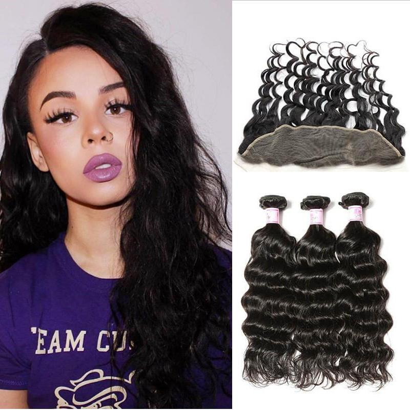 Malaysian Hair 3 Bundles with Lace Frontal Natural Wave Hair