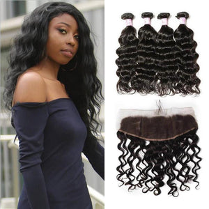 Malaysian Hair 4 Bundles with Lace Frontal Natural Wave Hair