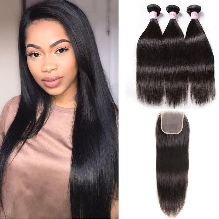 Malaysian Hair 3 Bundles with Lace Closure Straight Hair