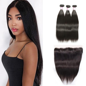 Malaysian Hair 3 Bundles with Lace Frontal Straight Hair