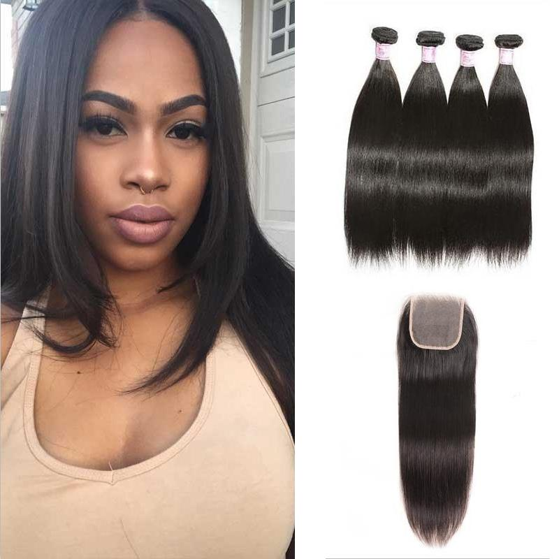 Malaysian Hair 4 Bundles with Lace Closure Straight Hair