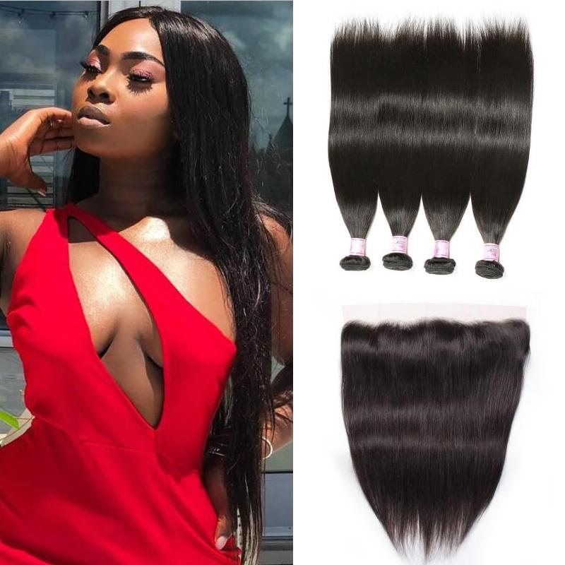 Malaysian Hair 4 Bundles with Lace Frontal Straight Hair