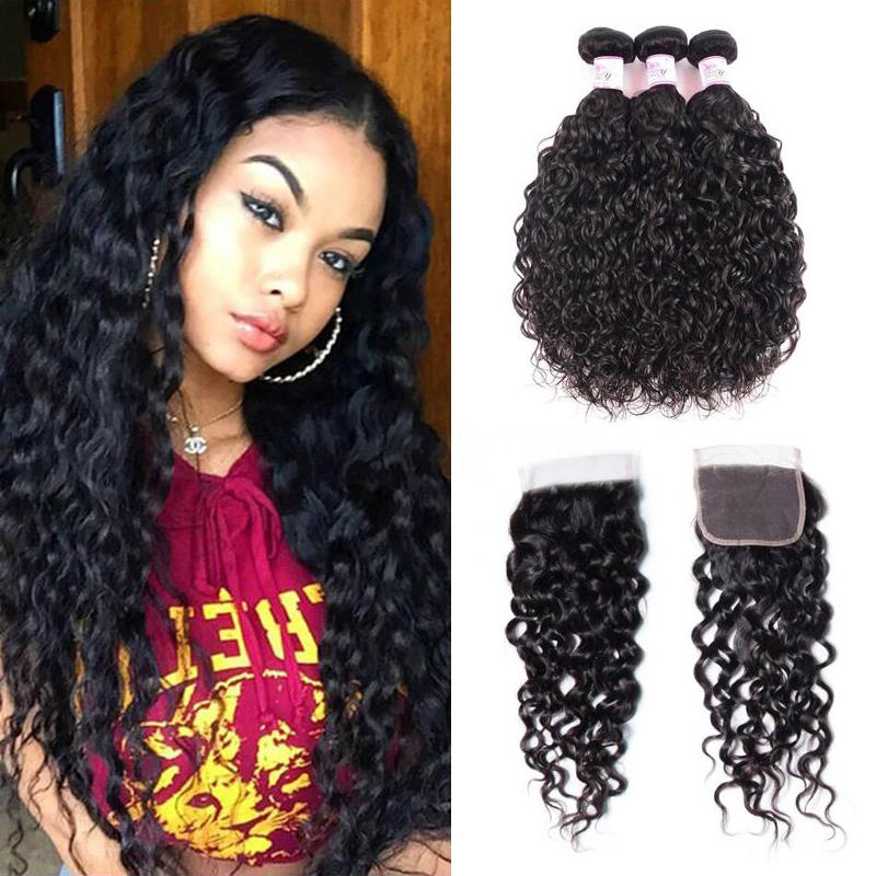 Malaysian Hair 3 Bundles with Lace Closure Water Wave Hair