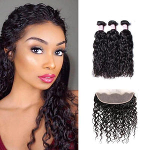 Malaysian Hair 3 Bundles with Lace Frontal Water Wave Hair