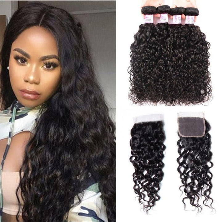 Malaysian Hair 4 Bundles with Lace Closure Water Wave Hair