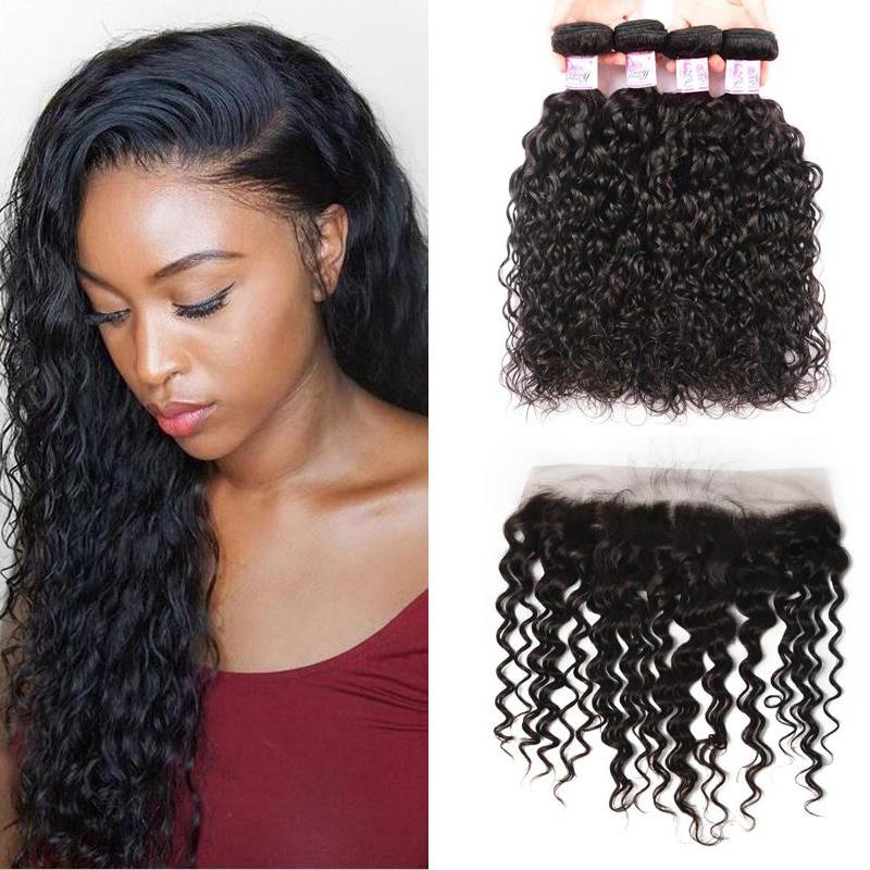 Malaysian Hair 4 Bundles with Lace Frontal Water Wave Hair