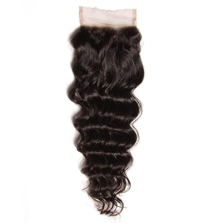 Virgin Hair Natural Wave Lace Closure with Baby Hair (#1B Natural Black)
