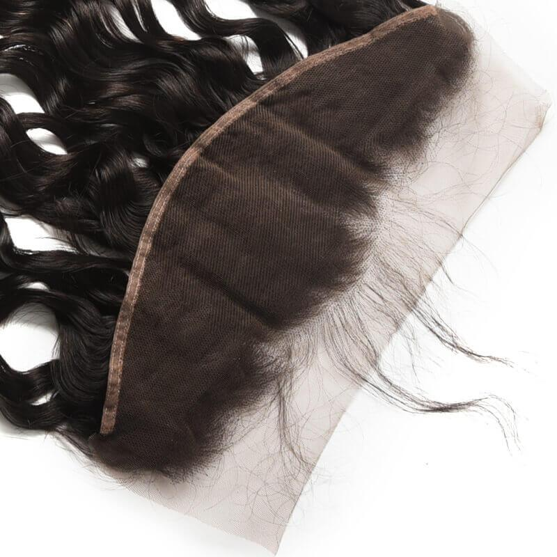 Virgin Hair Natural Wave Lace Frontal with Baby Hair (#1B Natural Black)