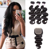 Peruvian Hair 3 Bundles with Lace Closure Body Wave Hair