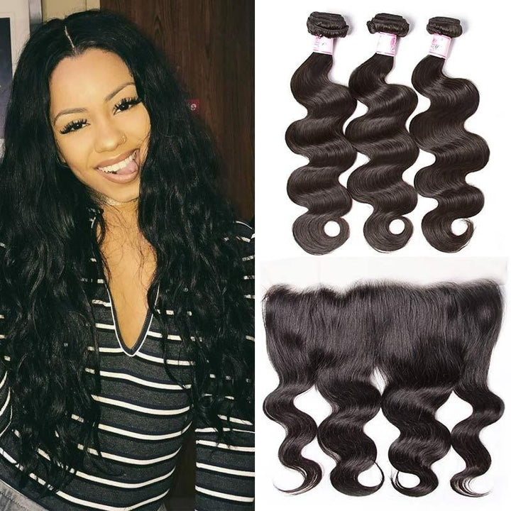 Peruvian Hair 3 Bundles with Lace Frontal Body Wave Hair