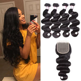 Peruvian Hair 4 Bundles with Lace Closure Body Wave Hair