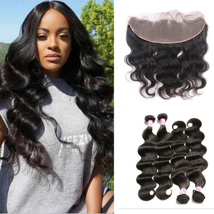 Peruvian Hair 4 Bundles with Lace Frontal Body Wave Hair