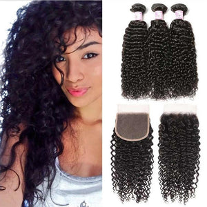 Peruvian Hair 3 Bundles with Lace Closure Curly Hair