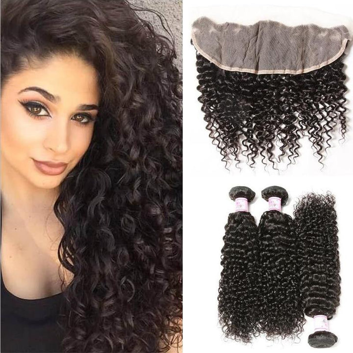 Peruvian Hair 3 Bundles with Lace Frontal Curly Hair