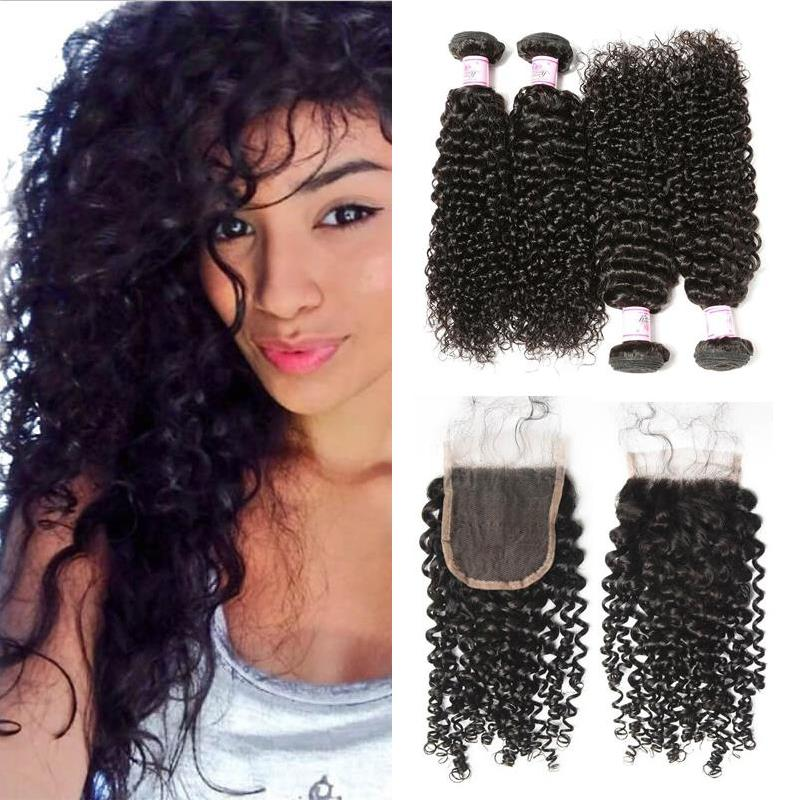 Peruvian Hair 4 Bundles with Lace Closure Curly Hair