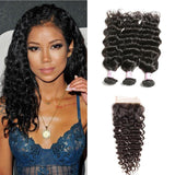 Peruvian Hair 3 Bundles with Lace Closure Deep Wave Hair 100% Human Hair