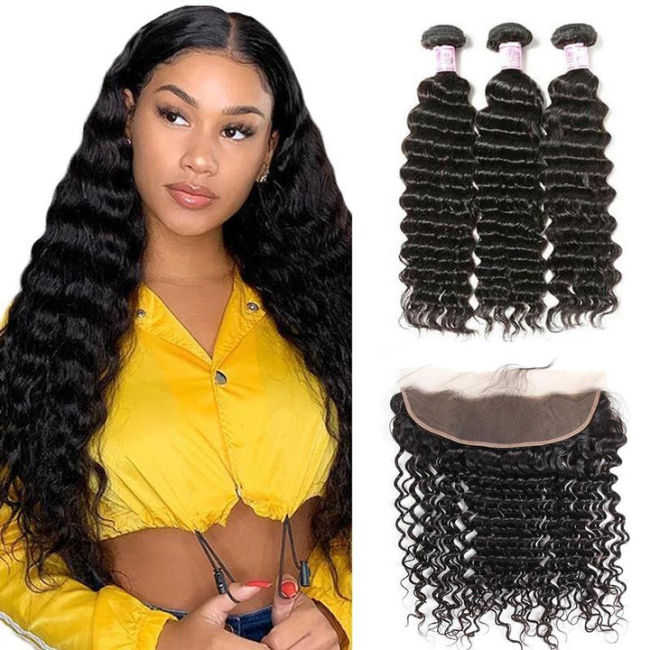 Peruvian Hair 3 Bundles with Lace Frontal Deep Wave Hair
