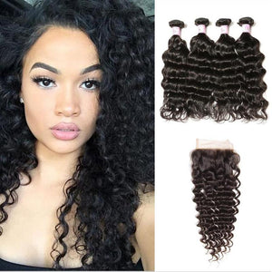 Peruvian Hair 4 Bundles with Lace Closure Deep Wave Hair