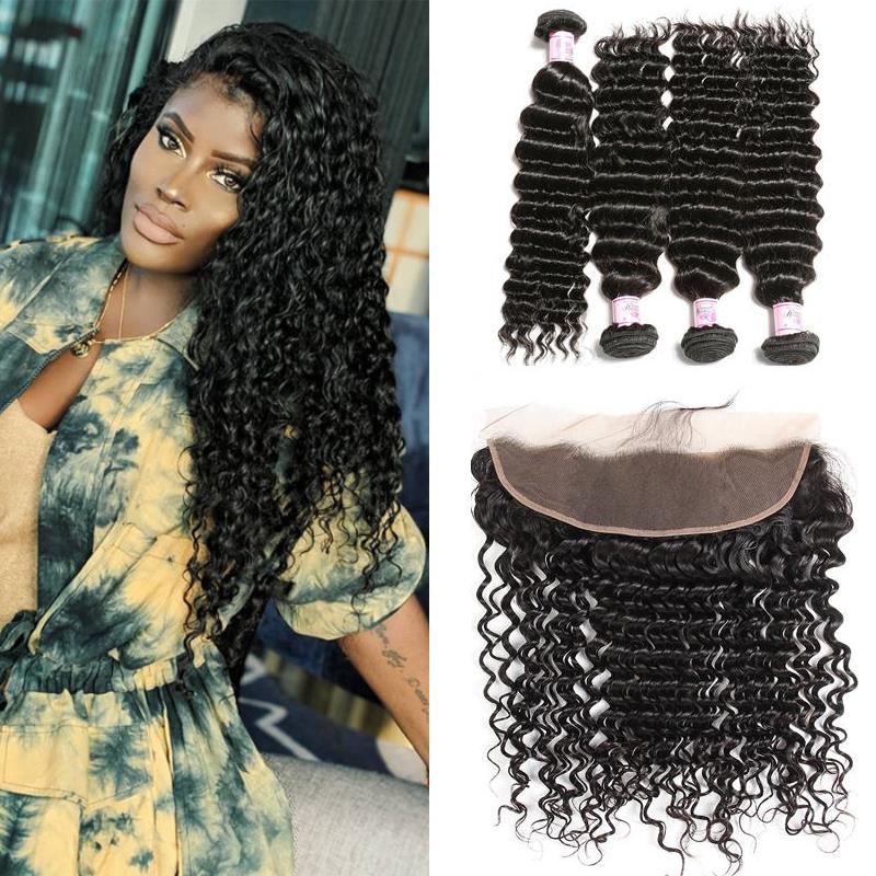Peruvian Hair 4 Bundles with Lace Frontal Deep Wave Hair