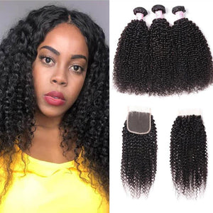 Peruvian Hair 3 Bundles with Lace Closure Kinky Curly Hair