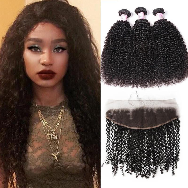 Peruvian Hair 3 Bundles with Lace Frontal Kinky Curly Hair