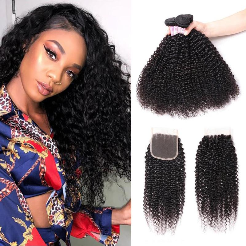 Peruvian Hair 4 Bundles with Lace Closure Kinky Curly Hair