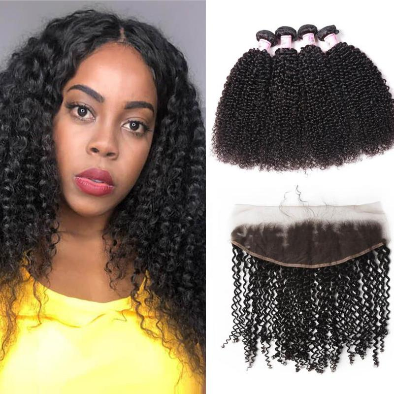 Peruvian Hair 4 Bundles with Lace Frontal Kinky Curly Hair