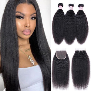 Peruvian Hair 3 Bundles with Lace Closure Kinky Straight Hair