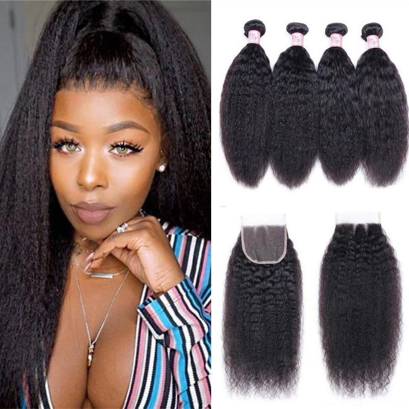 Peruvian Hair 4 Bundles with Lace Closure Kinky Straight Hair