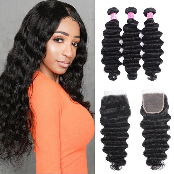 Peruvian Hair 3 Bundles with Lace Closure Loose Deep Hair
