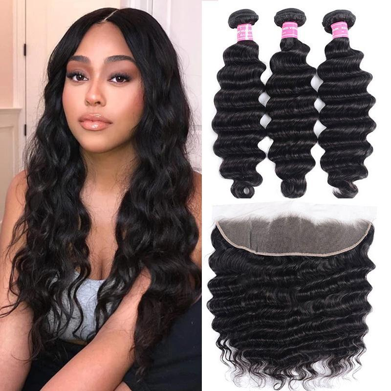 Peruvian Hair 3 Bundles with Lace Frontal Loose Deep Hair