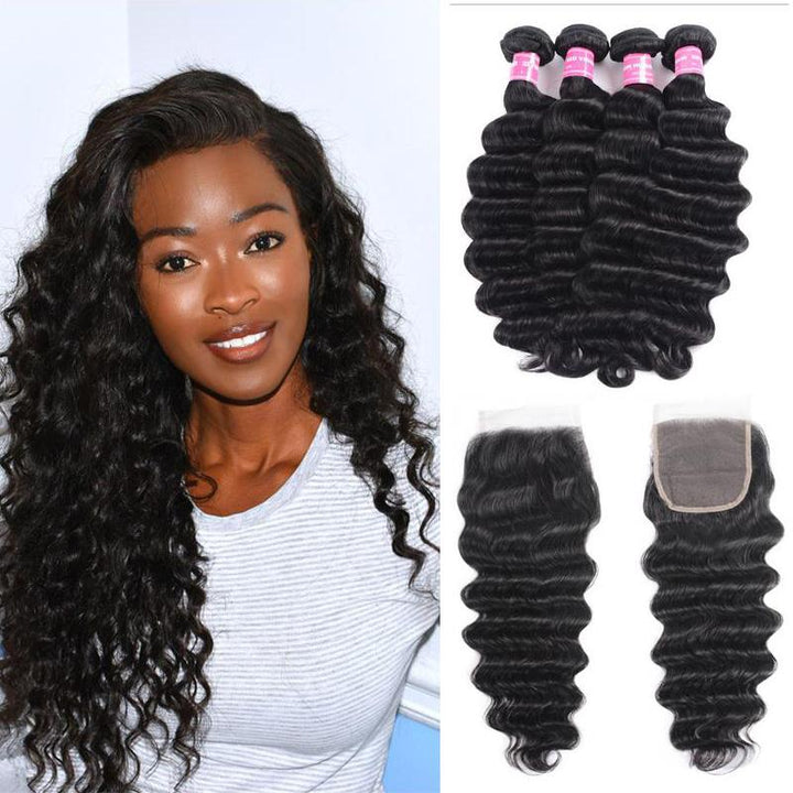 Peruvian Hair 4 Bundles with Lace Closure Loose Deep Hair