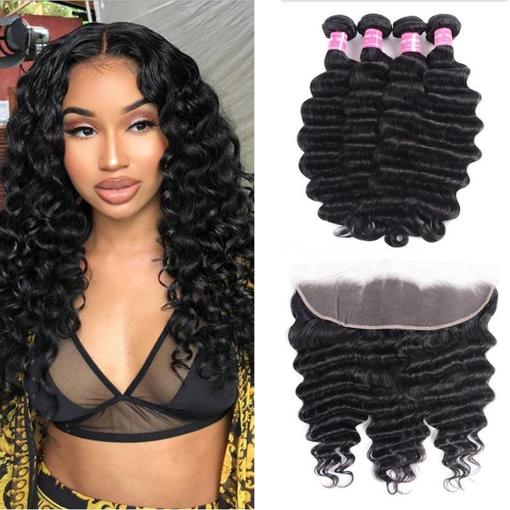 Peruvian Hair 4 Bundles with Lace Frontal Loose Deep Hair