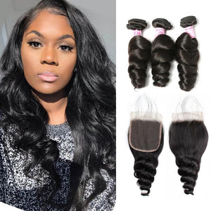 Peruvian Hair 3 Bundles with Lace Closure Loose Wave Hair