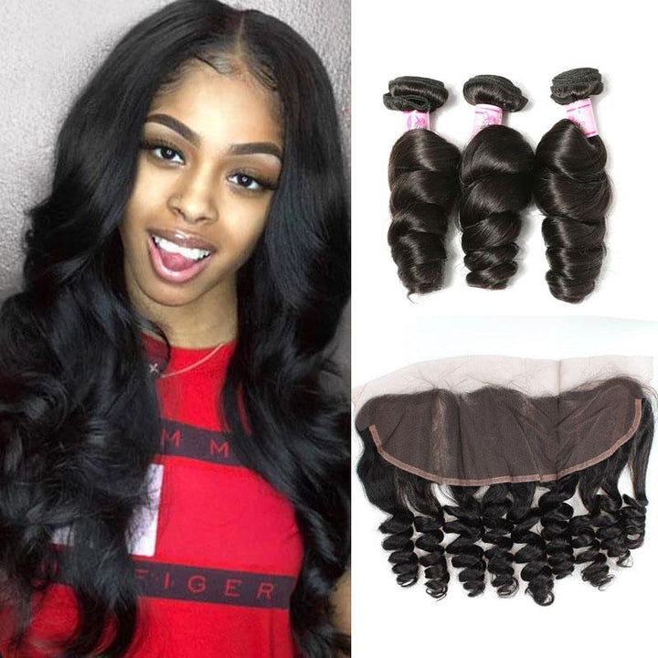 Peruvian Hair 3 Bundles with Lace Frontal Loose Wave Hair