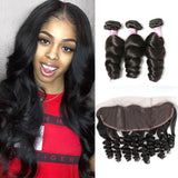 Peruvian Hair 3 Bundles with Lace Frontal Loose Wave Hair 100% Human Hair