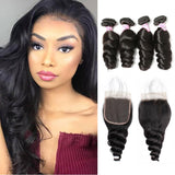 Peruvian Hair 4 Bundles with Lace Closure Loose Wave Hair
