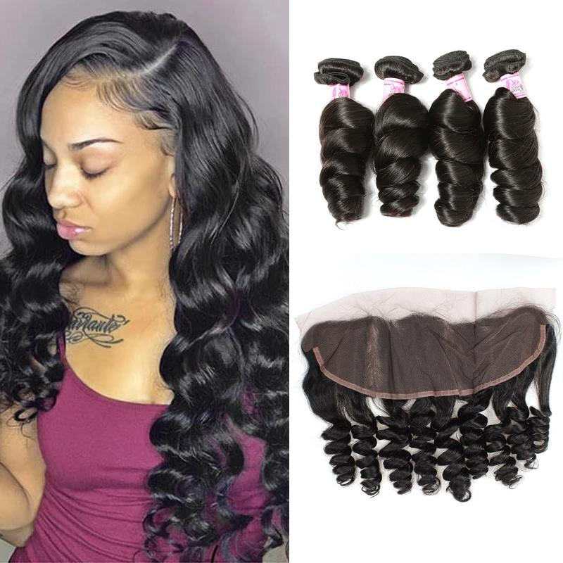 Peruvian Hair 4 Bundles with Lace Frontal Loose Wave Hair